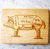 Bacon Pig diagram wooden cutting board. 16 x 10.5 inches.