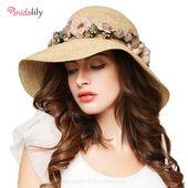 Raffia Foldable Large Wide Brim Flowers Straw Hats – Fashion Hats At Bridelily