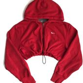 Reworked Nike Zip Up Crop Hoody Red ($48) ❤ liked on Polyvore featuring hoodie…