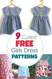 Dress Patterns For Girls – 9 Adorable Free Patterns! – AppleGreen Cottage-#adorable #applegreen #cottage #dress #Free #girls