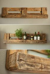 shelf in wooden pallet, green plant, bottle of wine  – beautiful.surroundings. -…   – craftshome