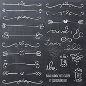 Hand drawn chalk doodle text divider swirly clip art for scrapbooking wedding invitation commercial use instant download