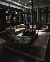 Große künstlerische moderne Schwarzweiss-Wohnzimmer-Ideen