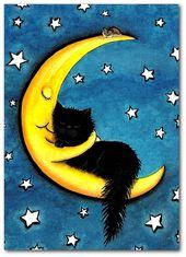 Süßeste Träume – Mond umarmt schwarze Katze – Fine Art Print von AmyLyn Bihrle ck509