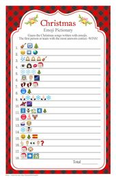 Christmas Songs EMOJI Pictionary with a red buffalo check background, Christmas party game, ANSWERS included, Instant Download diy PRINTABLE