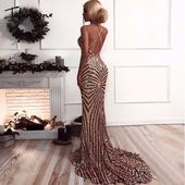 Tobinoone 2018 Elegant Deep V Neck Party Dresses Gold Sequined Maxi Dresses Backless Bodycon Evening Club Mermaid Dress – evening gown