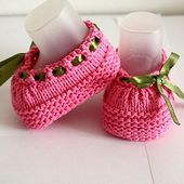 Knitting Pattern (PDF file) Baby Shoes Beatrice (sizes 0-3/3-6/6-12 months)