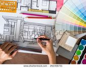Illustrator Workspace Top view of hands drawing with architecture hand-drawn sketch on creative worksp...