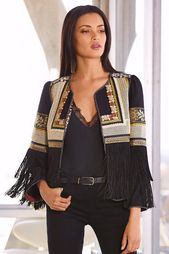 Embroidered Fringe Jacket I | Boston Proper