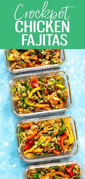 Diese Crockpot Chicken Fajitas eignen sich perfekt für die Zubereitung von Mahlzeiten! Dump in 5 Zutaten …