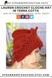 Lauren Crochet Beanie Chemo Cloche Hat with Brim for Women, Handmade Chemo in Terra Cotta Orange, Gift Accessories for Women, Her, Friend – Timeless Fashion Illustration