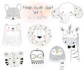 Tiere Doodle Set 2, Wald Clipart, Tiere Clipart Instant Download PNG-Datei – 300 dpi