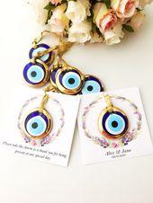 Personalized wedding card, nazar boncuk, gold evil eye beads, wedding favors for guest, turkish evil eye, greek evil eye charm, unique favor