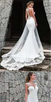 Modern White Tulle Mermaid Marriage ceremony Costume With Lace Appliques & Removable T…