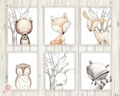 6 Hirsch Fox Bunny Rabbit Bär Eule Waschbär Wand…