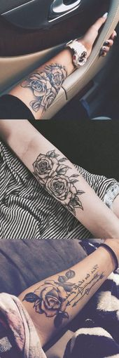 Black Rose Forearm Tattoo Ideas Girly Realistic Flower Flower Arm Tat Rose Arm