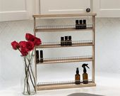 Essential Oil Shelf- 4 tiered, essential oil storage, wooden shelf, nail polish rack, hanging shelf, apothecary, craft storage