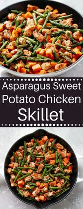 This Asparagus Sweet Potato Chicken Skillet recipe is a delicious healthy and ea…