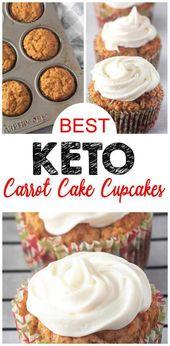 ¡Los mejores cupcakes Keto! Idea de muffin de pastel de zanahoria bajo en carbohidratos – Glaseado de queso crema – Receta de dieta cetogénica rápida y fácil – Completamente amigable con ceto – Sin azúcar – Sin gluten   – Keto Recipes and Ideas