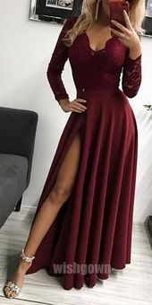 Long Sleeves Lace A Line Formal Long Prom Dresses, MD1116