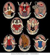 Vintage Circus Icons Sammlung. Der starke Mann, Die siamesischen Zwillinge, Die Entertai …