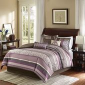 Madison Park King 7 Piece Jacquard Comforter Set in Purple/Brown - Olliix MP10-6038