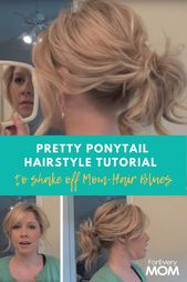 """This pretty ponytail hairstyle tutorial just shook off my """"mom-hair"""" blues - #blues #this #frisur #hubsche #means"""