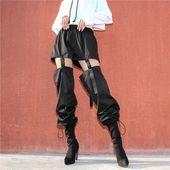 Detachable Buckle Hollow Out Harem Pants High Waist Drawstring Hem Loose Black Trousers