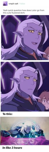 """Rejection from Allura that's what. I was like """"AHHHHHH"""" Honesty the two sides of Lotor were both true, he was playing them for his game at first, …"""