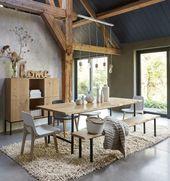 Table à manger 8 personnes Magnus en chêne massif et métal noir – Table à dîner Maisons du Monde
