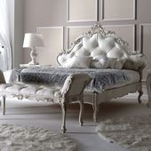 Italian Carved Rococo Button Upholstered Bed – Juliettes Interiors