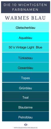 10 warme Blautöne sind Gletscherblau, Aqua, Vinta…