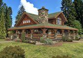 Distinctive Log Cabin With Wrap Around Porch