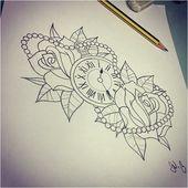 Alles sehende Auge – Heckmondwike Tattoo Studio   Taschenuhr und Rosen. Ich weiß, dass …