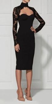 Chloe Black Lace Langarm Kleid
