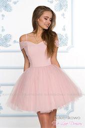 Scarlet Rozkloszowana Sukienka Bez Ramion Z Tiulem Rozowa Homecoming Dresses Simple Homecoming Dresses Prom Dresses Short
