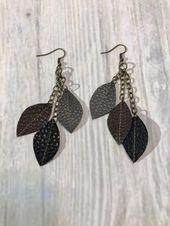 Faux leather earrings, Leaf earrings, Feather earrings, Joanna Gaines inspired, Leather earrings, black earrings, stitched earrings, jewelry