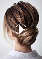 Trending Hairstyles 2019 – Easy Hair Bun #weddingguesthairstyles Easy Hair Bun Tutorial (YouTube video)