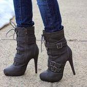 #Valentines #AdoreWe #Shoespie – #Shoespie Shoespie Nubuck Bukles Zipper Ankle B …