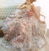 1 yard spitze stoff elfenbein organza 3D rosa chiffon rose blumen stickerei hochzeitskleid 47 zoll breit   – Spitze