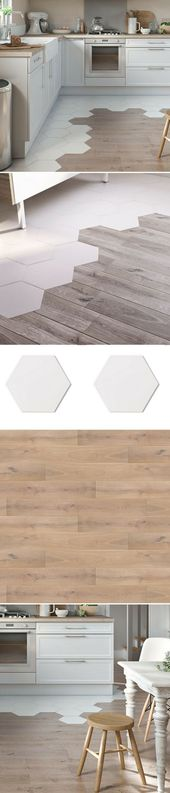 Trend towards kitchen floors: The mixture of parquet / tiles – #from #backsplash …