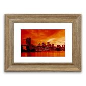 East Urban Home Framed Graphic Print New York City, Brooklyn Bridge in Orange | Wayfair.de