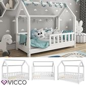 VitaliSpa house bed WIKI 70x140cm fence white child bed children's house children bed wood
