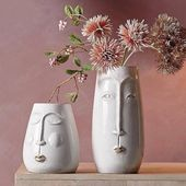 White Ceramic Face Vases Two Sizes