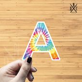 "Letter ""A"" Tie Dye Vinyl Sticker, Best Friend Gift, Laptop Decals, Name Stickers, Monogram, Macbook"