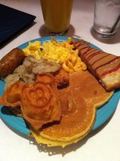 Goofy S Kitchen Breakfast Buffet The Disneyland Hotel All The Way On The Right Is The Peanut Butter An Disneyland Breakfast Disneyland Food Breakfast Sweets