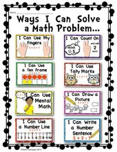 Math Strategy Posters Addition Problems Kindergarten First