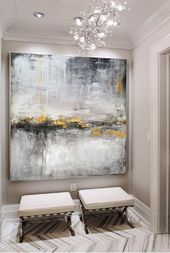 Large gold painting, black and white painting, large abstract original landscape painting, horizo …
