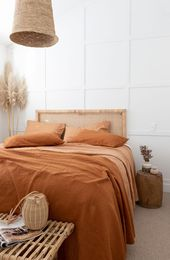 @villastyling has taken our Ochre & Sandalwood French Linen and styled it with a beautiful headboard by @yakandyetitrader we're in love with this interior dream – Pin Coffee – R O O M S