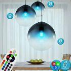 RGB LED Ess Zimmer Pendel Decken Leuchte dimmbar FERNBEDIENUNG Glas Glühbirne